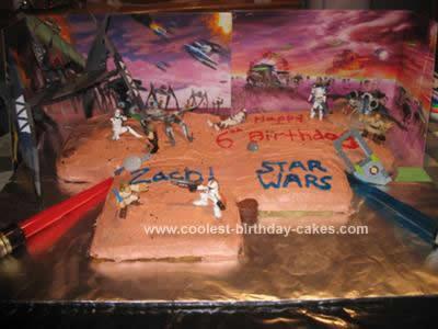 Homemade Star Wars Battle Scene Cake