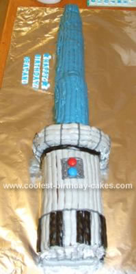 Homemade Star Wars Light Saber Birthday Cake