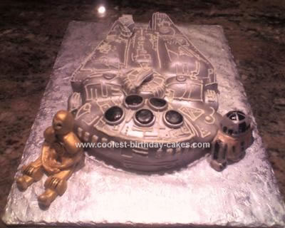 Homemade Star Wars Millennium Falcon Cake