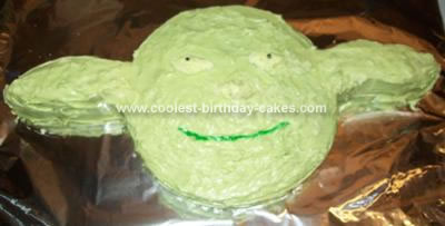 Homemade Star Wars Yoda Cake