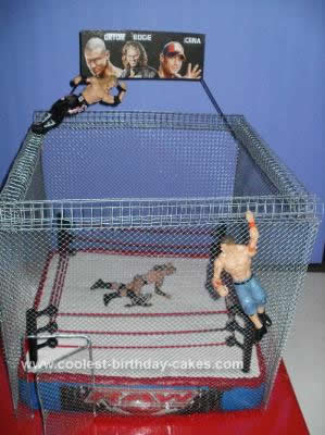 Homemade Steel Cage Wrestling Cake