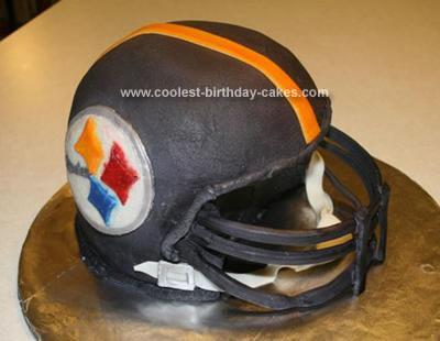 Homemade Steelers Helmet Cake