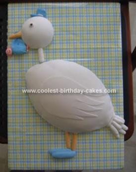 HOmemade Stork Baby Shower Cake