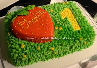 Homemade Strawberry Meadow Grass Birthday Cake