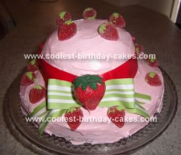 Homemade Strawberry Shortcake Hat Birthday Cake