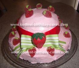 Homemade Strawberry Shortcake Hat Birthday Cake