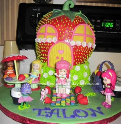 Homemade Strawberry Shortcake House Cake