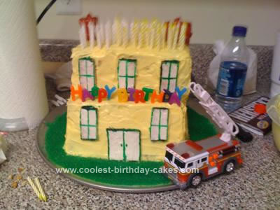 Homemade Structure Fire Birthday Cake