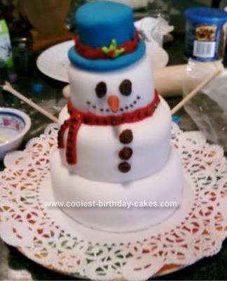 Homemade Sunny the L.A. Snowman Cake