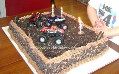 Homemade Super Chocolate Monster Truck Cake