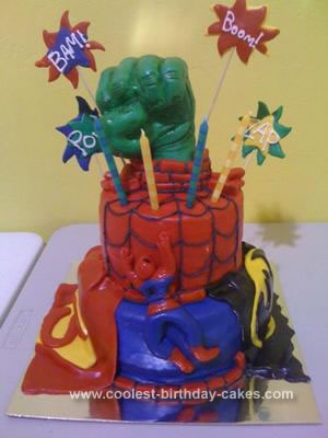 Homemade Super Hero Birthday Cake