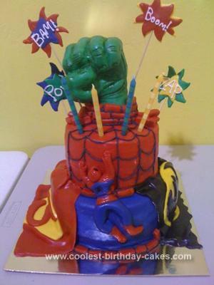 Homemade Super Hero Birthday Cake