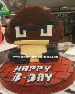 Homemade Super Mario 8-Bit Goomba Cake