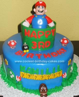 Homemade Super Mario Birthday Cake