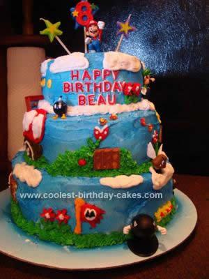 Homemade Super Mario Bros. Birthday Cake