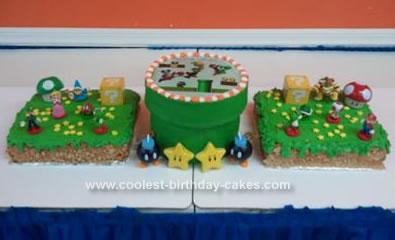 Homemade Super Mario Bros Birthday Cake