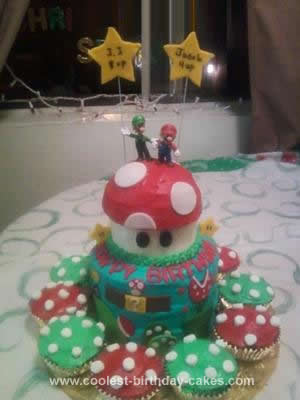 Homemade Super Mario Brothers Birthday Cake