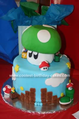 Homemade Super Mario Brothers with Green Mushroom Topper Cake