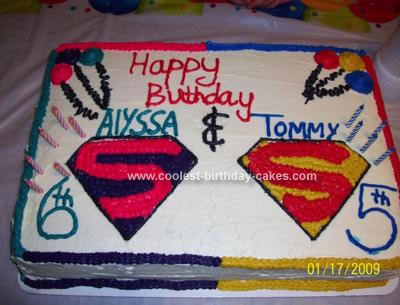 Homemade Supergirl vs Superman Cake