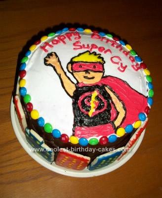 Homemade Superhero Rainbow Layer Cake
