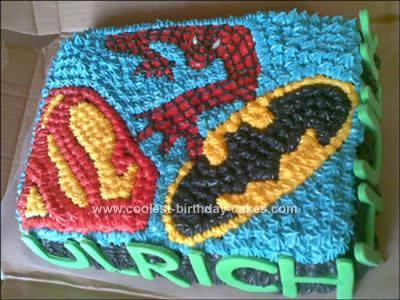 Homemade  Superheroes Birthday Cake