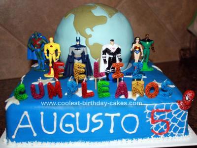 Homemade Superheroes Protecting Earth Cake