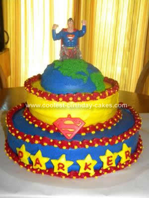 Homemade Superman Birthday Cake