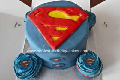 Homemade Superman Cake Rainbow Style