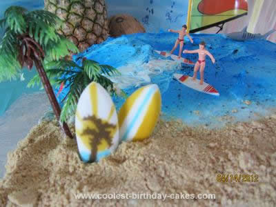 Homemade Surfing Birthday Party Cake