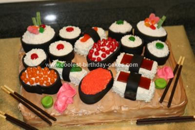 Surprising Coolest Sushi Birthday Cake Personalised Birthday Cards Veneteletsinfo