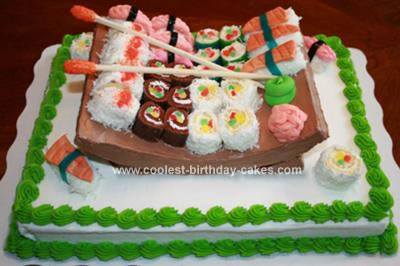 Excellent Coolest Sushi Cake With Sushi Platter Personalised Birthday Cards Veneteletsinfo