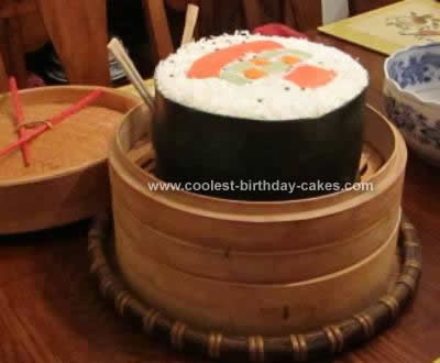 Remarkable Coolest Sushi Roll Birthday Cake Personalised Birthday Cards Veneteletsinfo