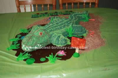 Homemade Swamp Alligator 5th Birthday Cake