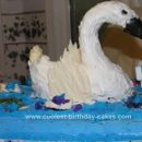 Homemade Swan On The Lake Birthday Cake