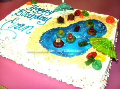 Super Coolest Swimming Pool Birthday Cake Funny Birthday Cards Online Benoljebrpdamsfinfo
