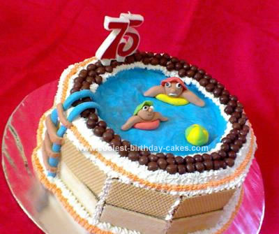 Homemade Swimming Pool Birthday Cake