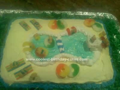 Homemade  Swimming Pool Birthday Cake