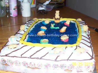 Homemade Swimming Pool Birthday Cake Design