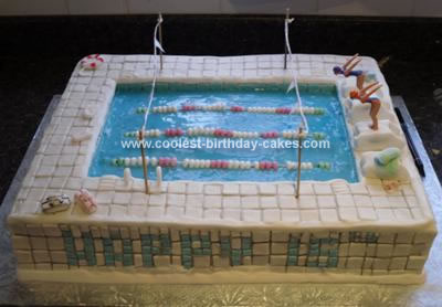 Coolest swimming pool cake for Swimming pool birthday cake pictures