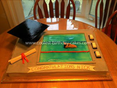 Coolest Swimming Pool Graduation Cake