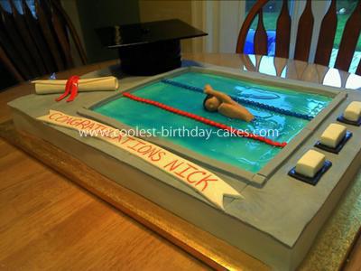 Coolest Swimming Pool Graduation Cake