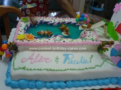 Homemade Swimming Pool Party Cake