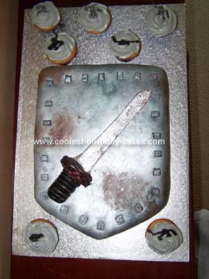 Homemade Sword And Shield Birthday Cake