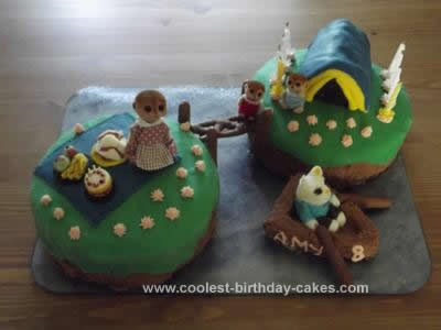 Homemade Sylvanian Birthday Islands Camping Cake