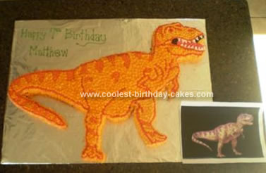 Homemade T Rex Dinosaur Birthday Cake