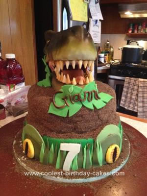 Homemade T Rex Fossil Cake