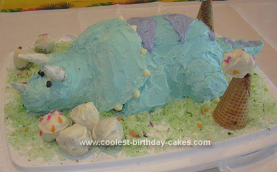 Homemade Tank the Triceratops Cake from Dinosaur Train