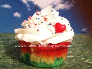 Homemade Taste the Rainbow Cupcake