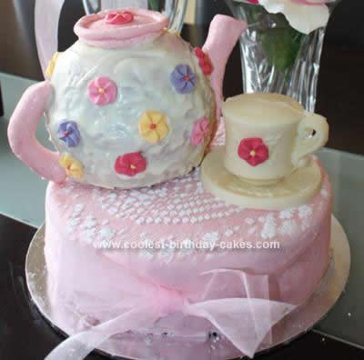 Homemade Tea Party Birthday Cake