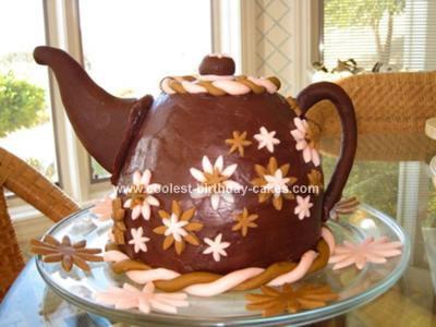 Homemade Brown & Pink Teapot Cake